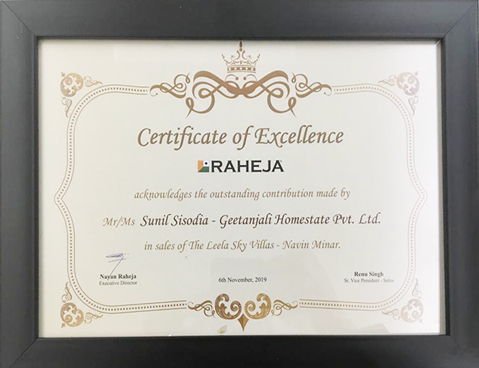 Certificate of Excellence Awards By Raheja-Nov 2019