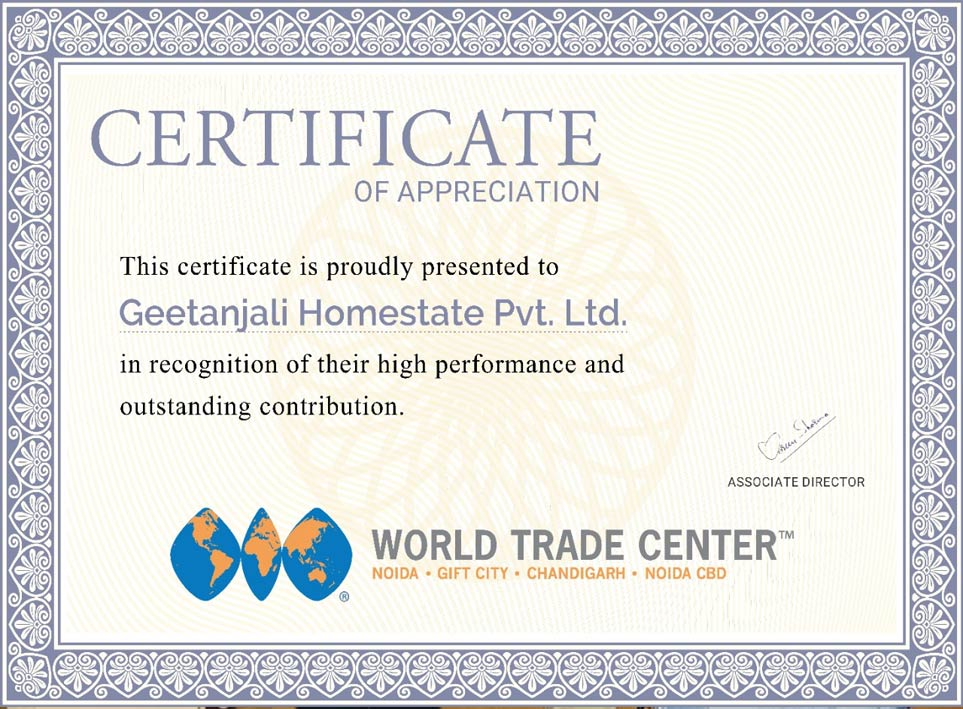 Certificate of Appreciation By WTC 2020
